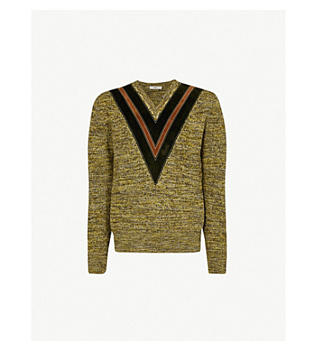 BALLY V-detail wool-knit jumper (Yellow