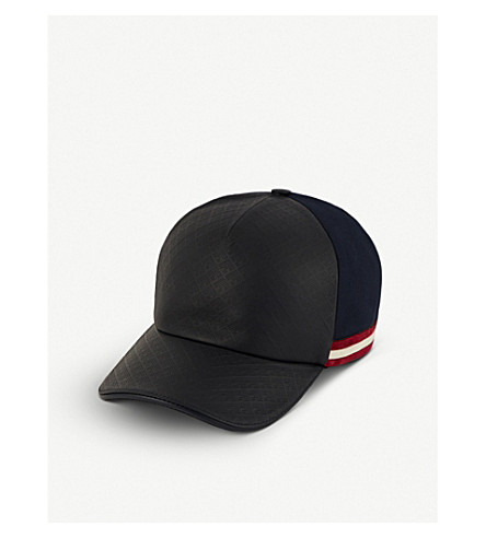 BALLY Cresent Toile leather and canvas baseball cap (Dark+navy