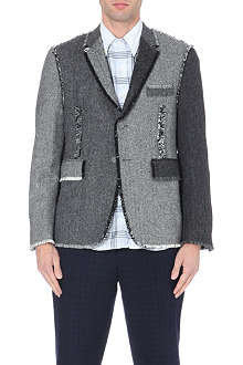 THOM BROWNE Frayed-edge herringbone blazer
