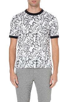 THOM BROWNE Leaf-print ringer t-shirt