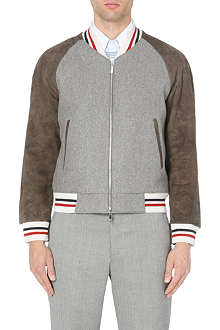 THOM BROWNE Striped suede-panel varsity jacket
