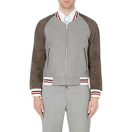 THOM BROWNE Striped suede-panel varsity jacket (Grey