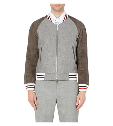 THOM BROWNE Striped suede-panel varsity jacket (Grey