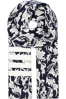 THOM BROWNE Leaf design cashmere scarf