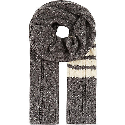 THOM BROWNE Cable knit scarf (Grey
