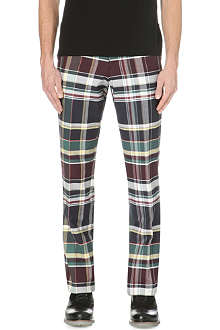 THOM BROWNE Checked back-strap trousers