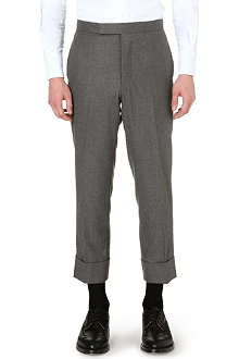 THOM BROWNE Classic cropped turn-up trousers