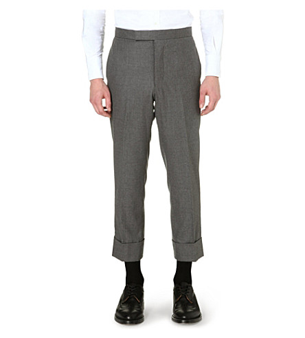 THOM BROWNE Classic cropped turn-up trousers (Grey