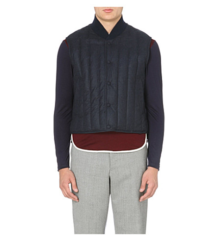 THOM BROWNE Down-filled cashmere-panel gilet (Navy