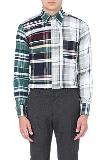 THOM BROWNE Checked cotton-flannel shirt