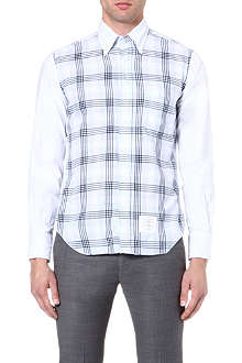 THOM BROWNE Checked shirt with contrast sleeves and collar