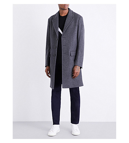 NEIL BARRETT Marl-panel wool-blend coat (Grey+blk