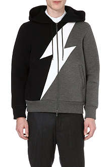 NEIL BARRETT Bolt-print zip-through hoody