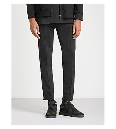 NEIL BARRETT Satin-trim super-skinny mid-rise neoprene trousers (Black+black