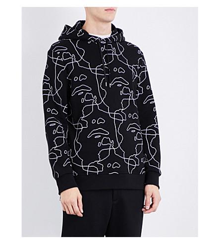 NEIL BARRETT Face-print cotton-jersey hoody (Black