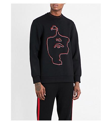 NEIL BARRETT Face-outline neoprene sweatshirt (Black+red