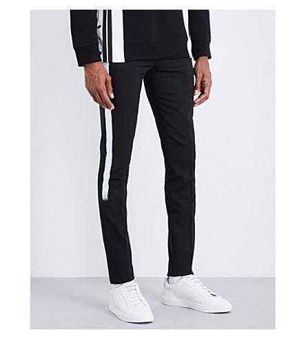 NEIL BARRETT Paint-stripe stretch-wool trousers (Grey