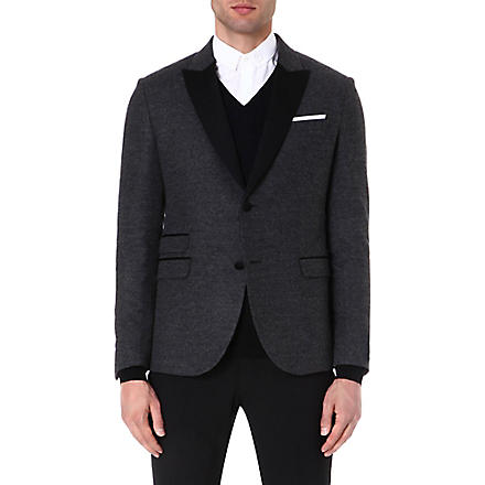NEIL BARRETT Contrast-lapel tuxedo jacket (Grey