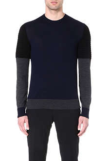 NEIL BARRETT Tri-colour knitted jumper