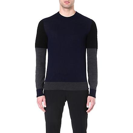 NEIL BARRETT Tri-colour wool jumper (Navy/black/grey
