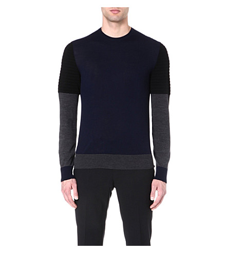 NEIL BARRETT Tri-colour wool jumper (Navy/black/grey