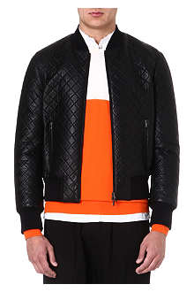 NEIL BARRETT Quilted leather bomber jacket