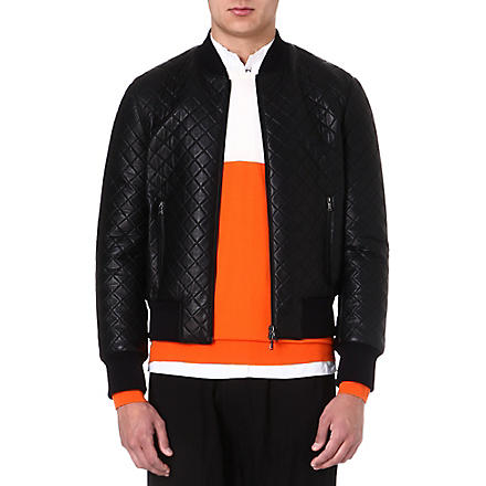 NEIL BARRETT Quilted leather bomber jacket (Black