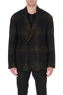 CERRUTI Faded tartan wool-blend jacket
