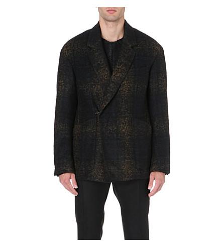 CERRUTI 1881 PARIS Faded tartan wool-blend jacket (Black