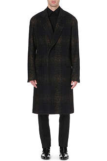 CERRUTI Faded tartan wool-blend coat