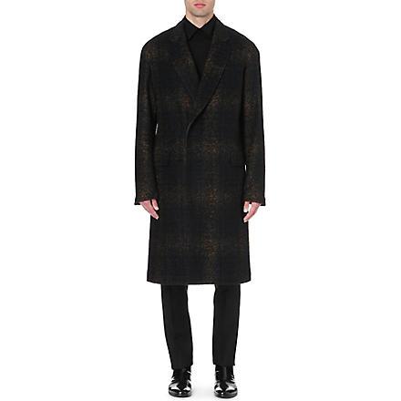 CERRUTI Faded tartan wool-blend coat (Black