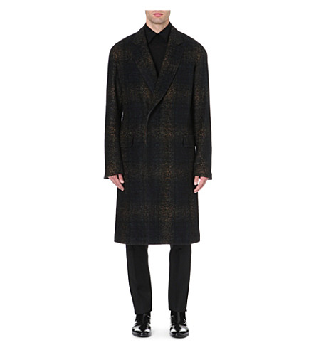 CERRUTI 1881 PARIS Faded tartan wool-blend coat (Black