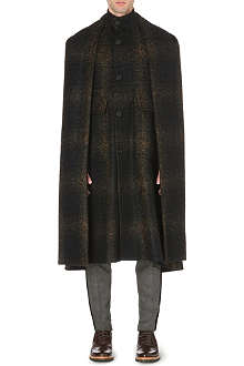 CERRUTI Tartan wool-blend cape coat