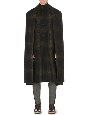 CERRUTI 1881 PARIS Tartan wool-blend cape coat