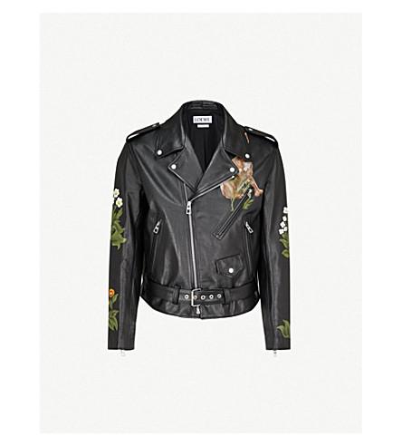 LOEWE Loewe x William Morris leather biker jacket (Black