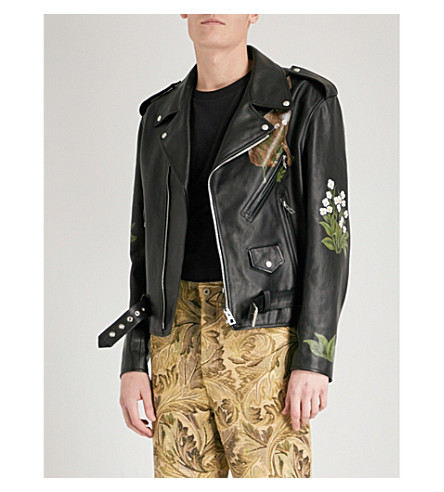 LOEWE Loewe x William Morris leather biker jacket (Black
