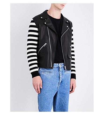 LOEWE Contrast-sleeve leather jacket (Black