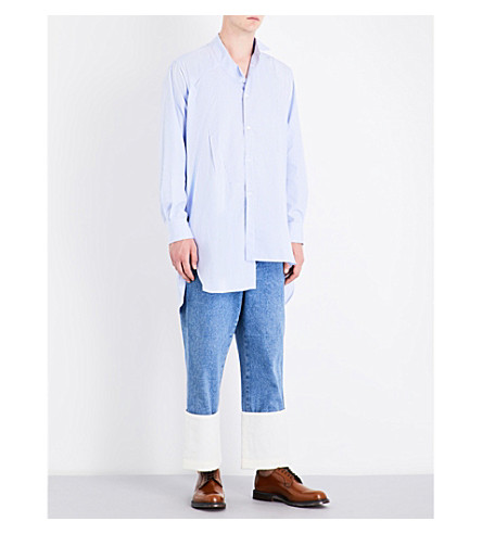 LOEWE Asymmetric-hem striped relaxed-fit cotton shirt (Light+blue+white