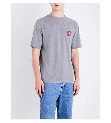 LOEWE Logo-embroidered cotton-jersey T-shirt (Grey