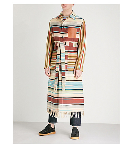 LOEWE Striped wool and cotton-blend coat (Brown