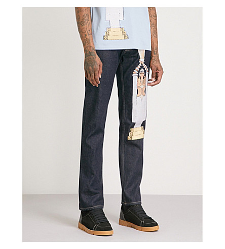 LOEWE Printed regular-fit straight jeans (Navy+blue