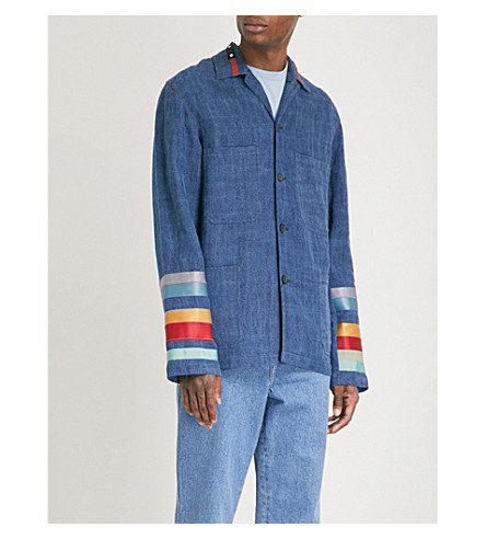 LOEWE Satin-trimmed linen jacket (Indigo