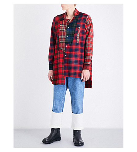 LOEWE Patchwork tartan relaxed-fit cotton shirt (Red+multi+colour