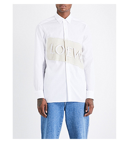 LOEWE Logo-patch relaxed-fit cotton and linen-blend shirt (White+natural