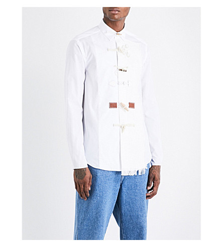 LOEWE Toggle-detailed relaxed-fit cotton and linen shirt (White