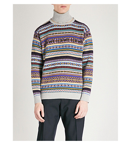 LOEWE Fair Isle wool and cotton-blend turtleneck jumper (Multicolour