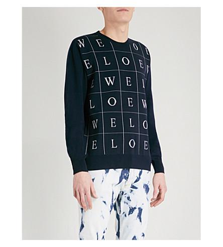 LOEWE Letter-print wool jumper (Navy+blue