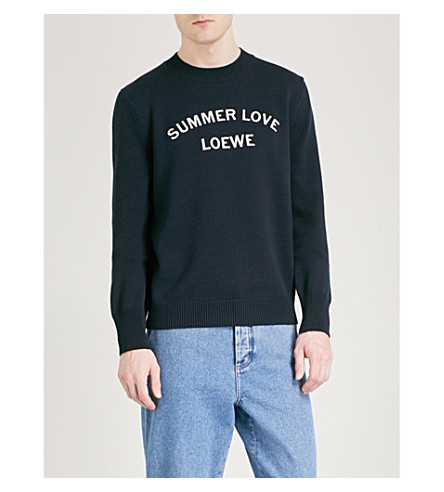 LOEWE Summer Love wool and cotton-blend jumper (Navy+blue