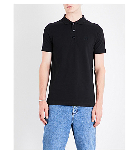 LOEWE Anagram cotton-piqué polo shirt (Black