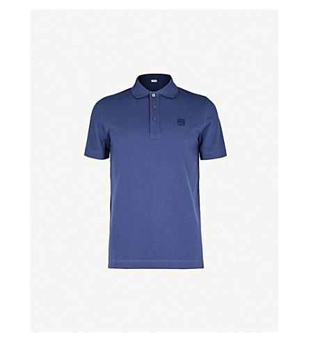 LOEWE Anagram cotton-piqué polo shirt (Navy+blue